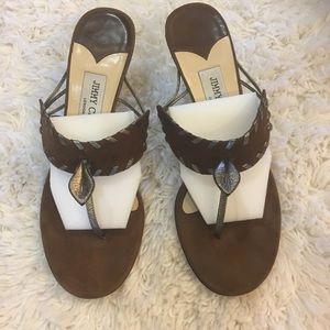 Jimmy Choo suede slide heeled sandals